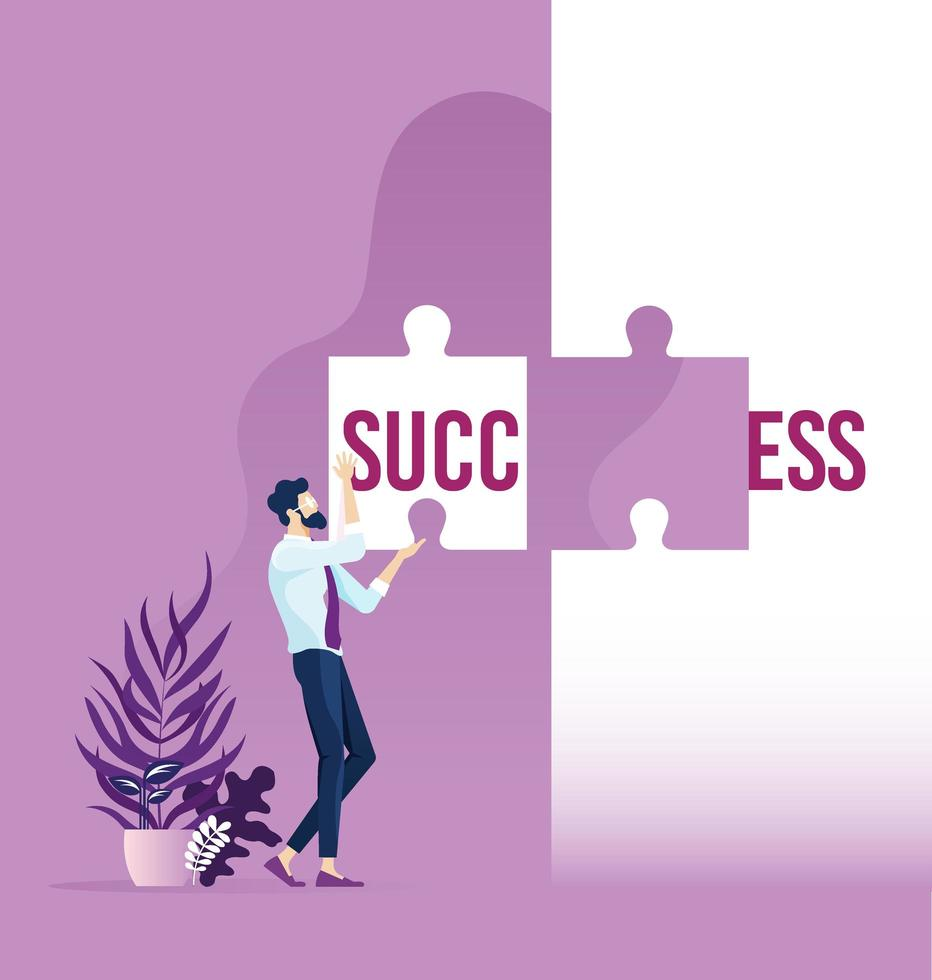 Businessman holding word success split over two puzzle pieces vector