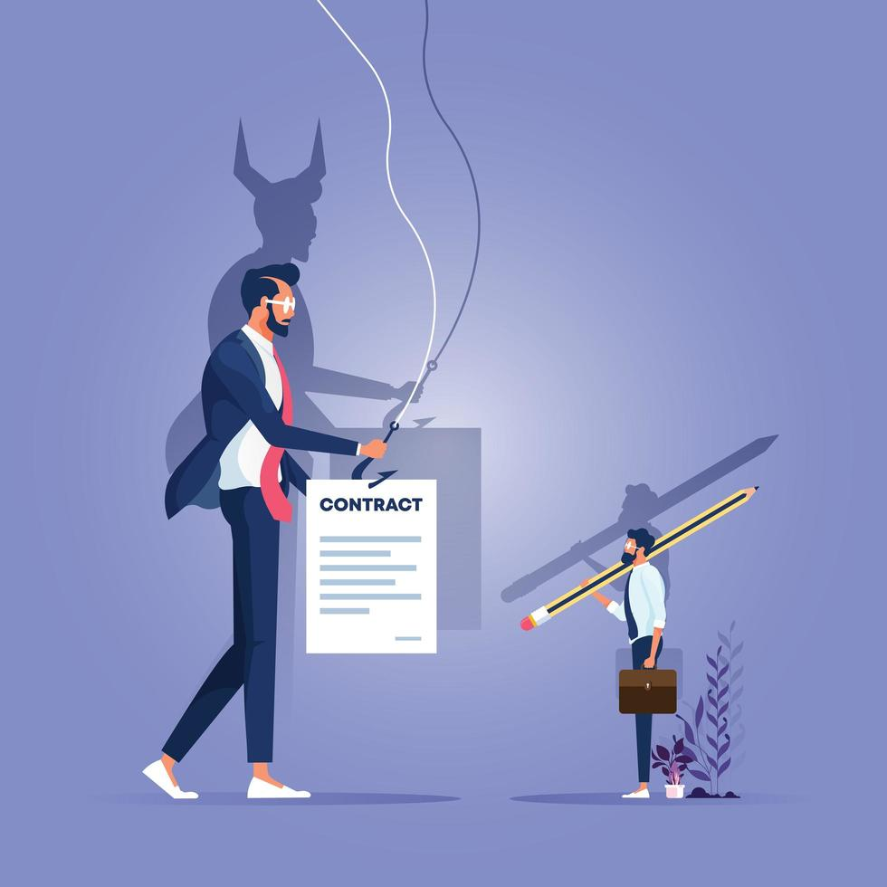 Businessman handling a contract to customer, his shadow showing devil vector