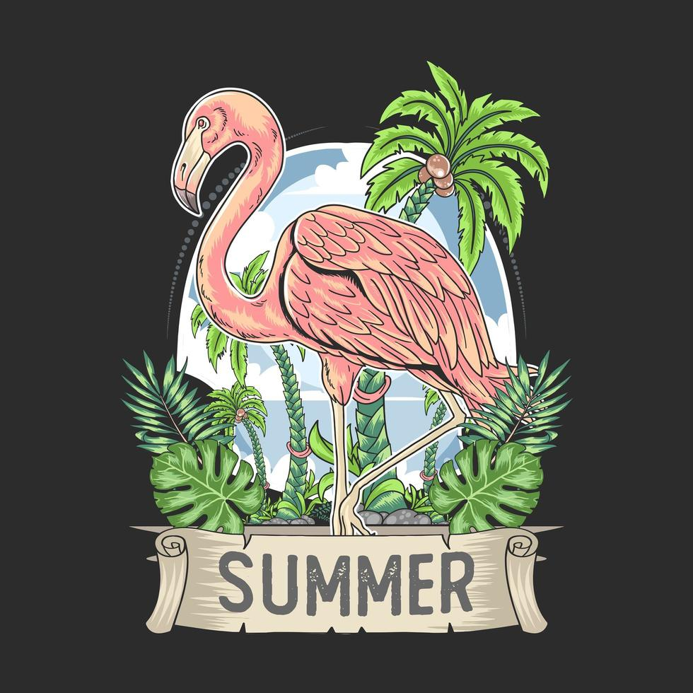 flamingo summer design with nature leaves and coconut tree vector