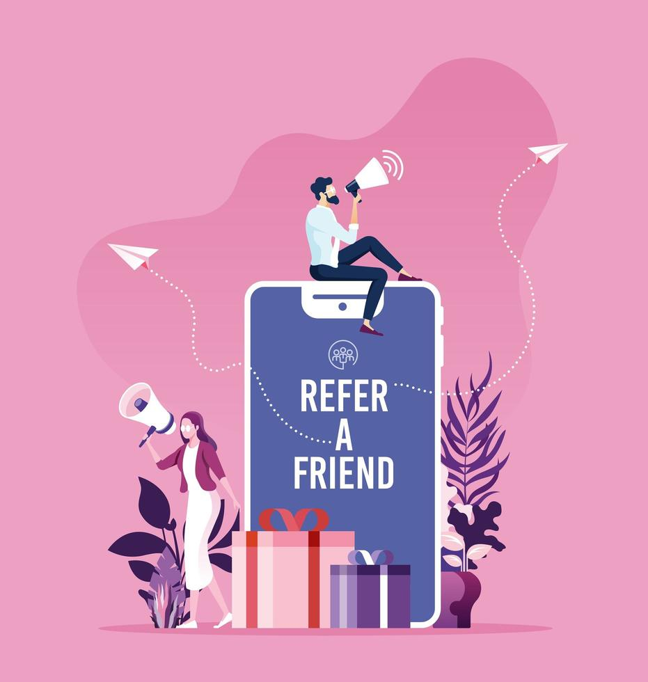 Refer a friend concept vector