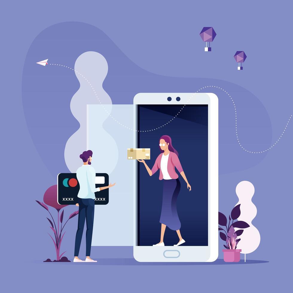Online shopping-Mobile marketing Concept vector