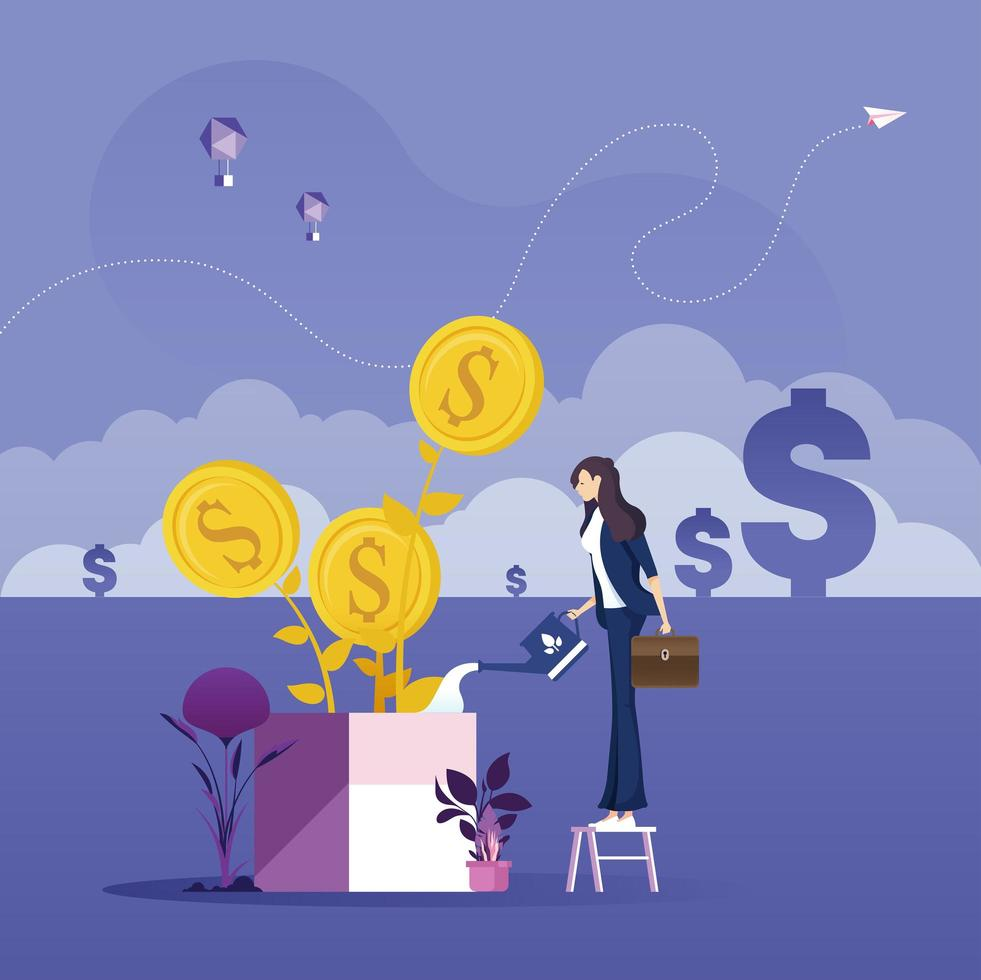 Business growth concept-Businesswoman nurturing a dollar tree with watering can vector