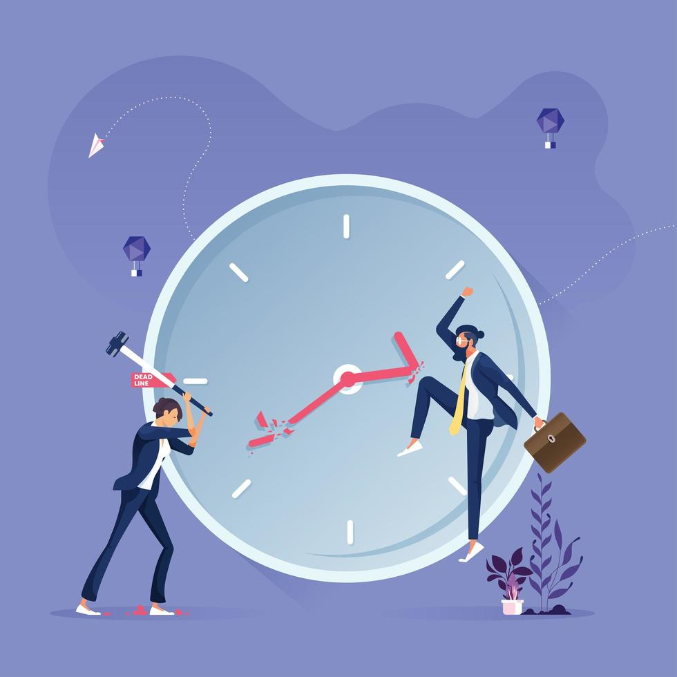 Business group trying to stop the time-Deadline and time management concept vector