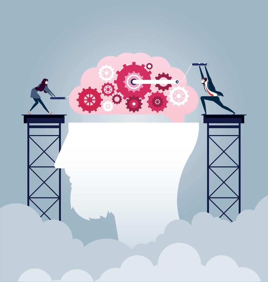 empresario de lluvia de ideas crea vector de idea