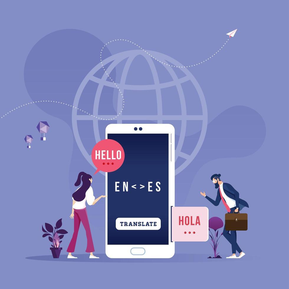Online translator in mobile phone-Global wireless technology concept vector