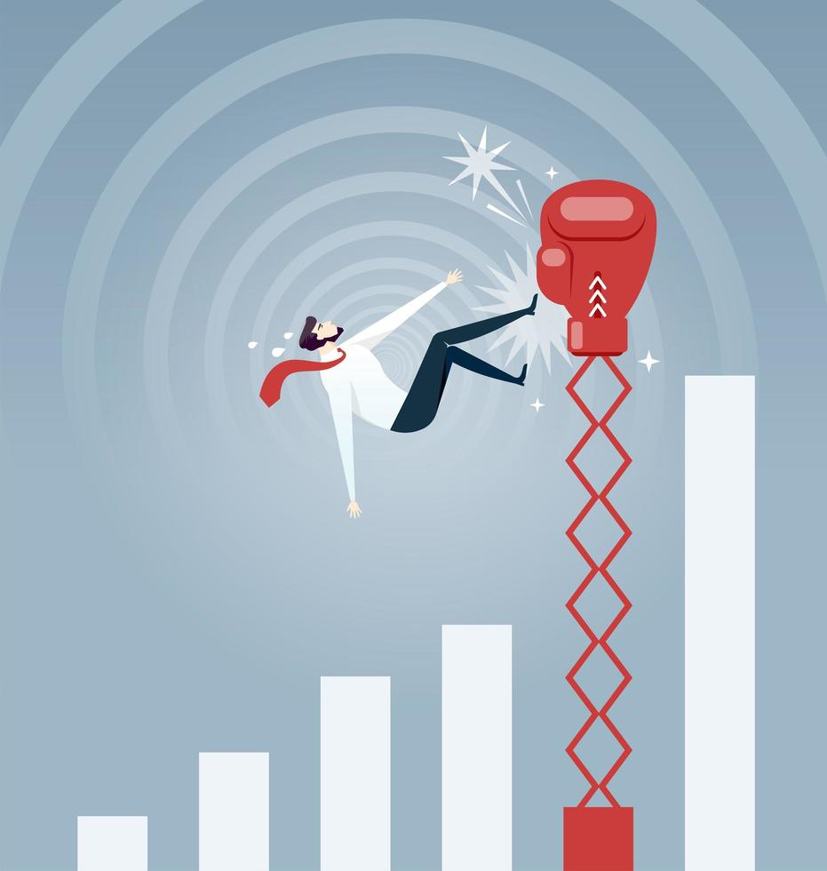 Businessman being hit by a big boxing glove and falling from growing rate graph- Business concept vector