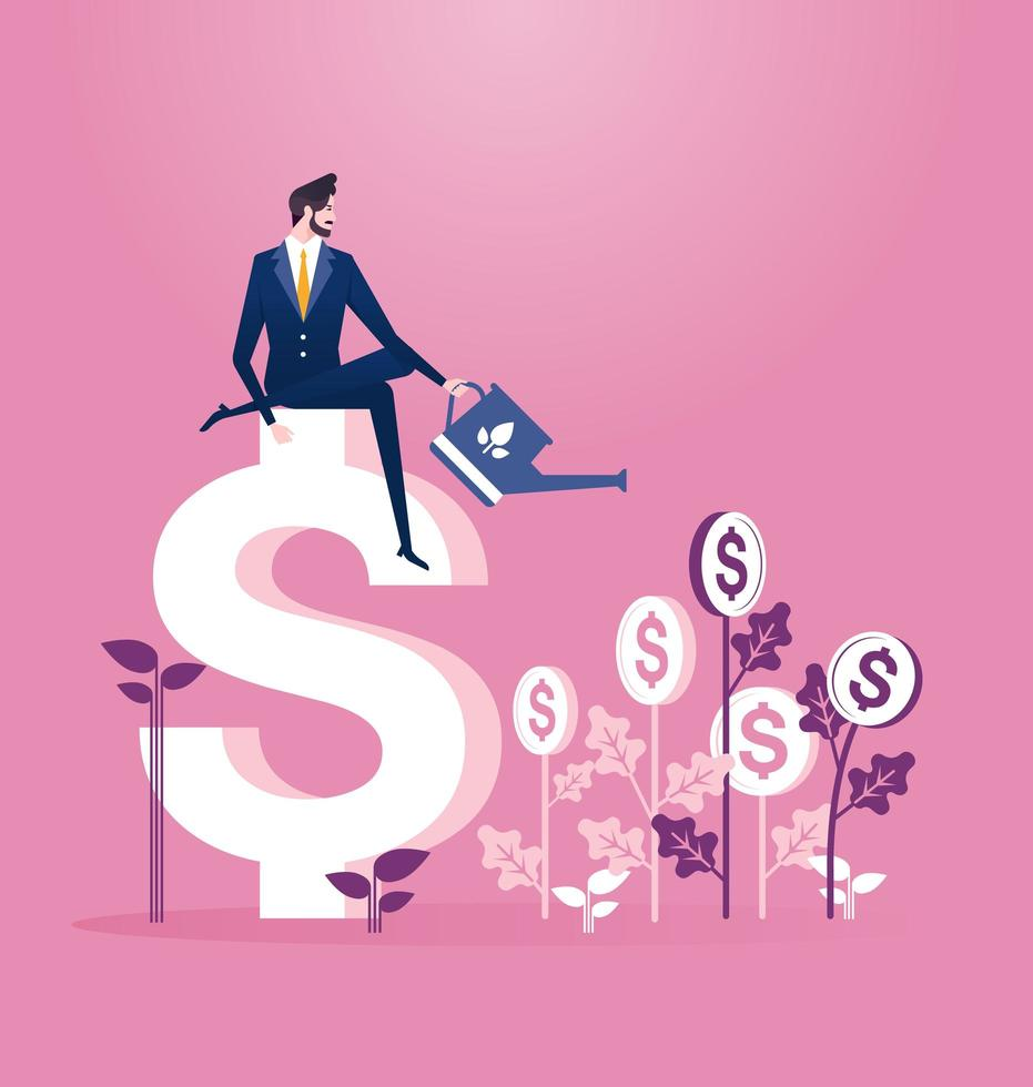 Businessman watering coin tree investment business concept vector