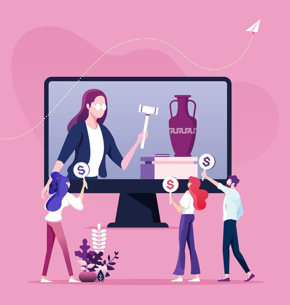 Bid auction and buy online concept vector