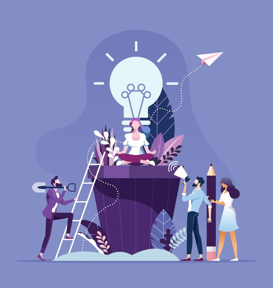 Business people brainstorming and creative idea concept vector