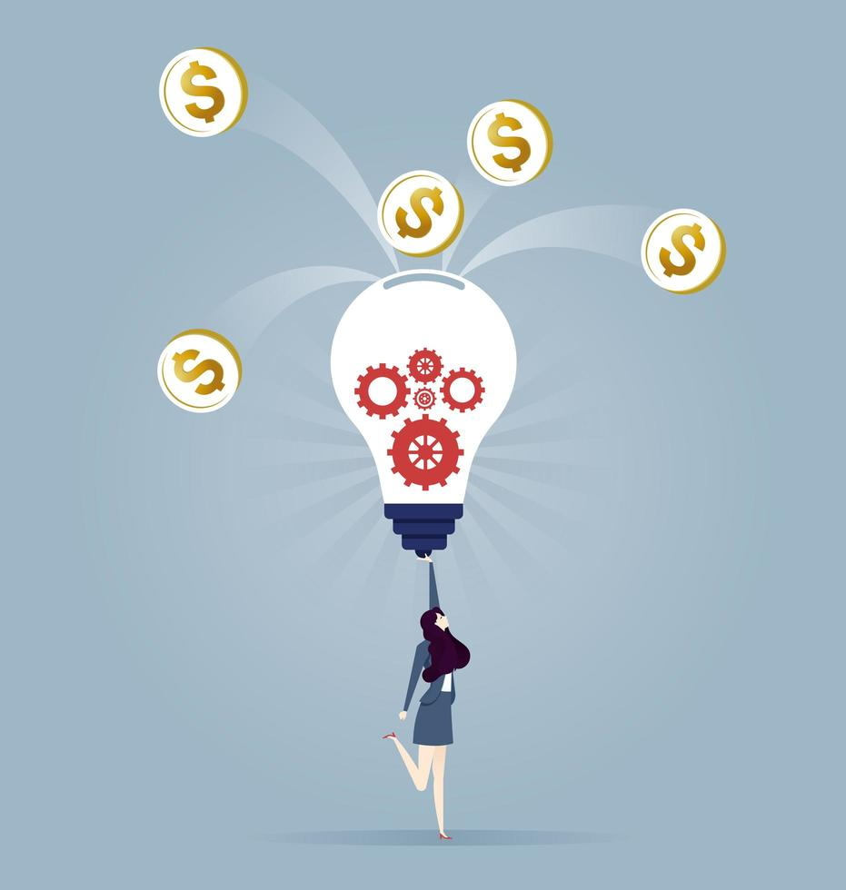 Turning a new invention idea into money concept - Business Concept vector