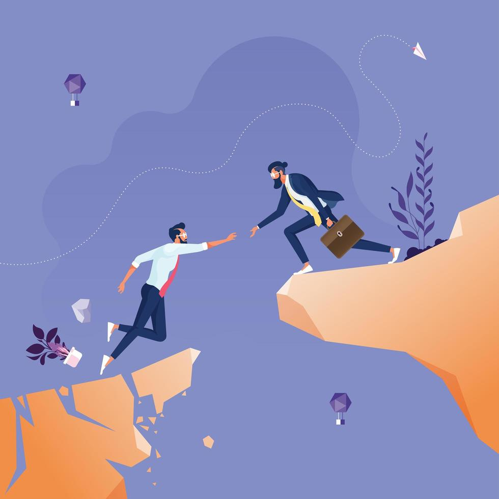 Businessmen helping each other across abyss, Business teamwork concept vector