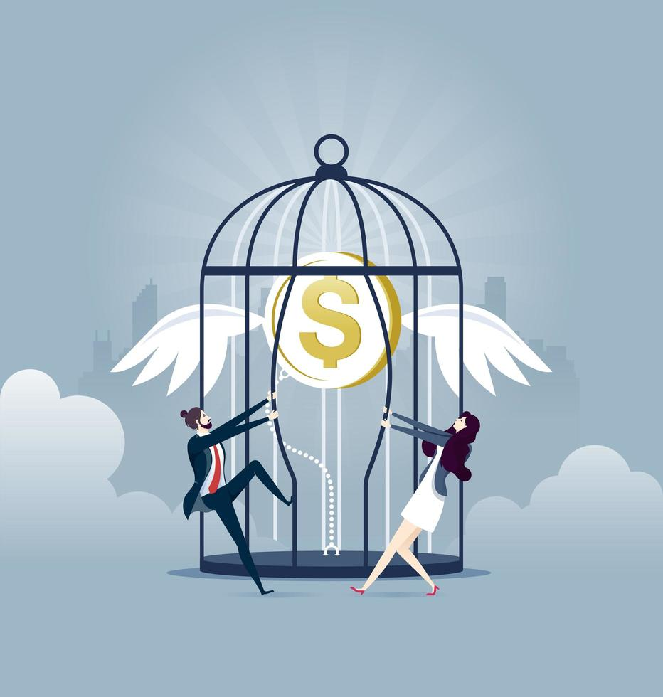 Set free money - Investment business Concept vector illustration
