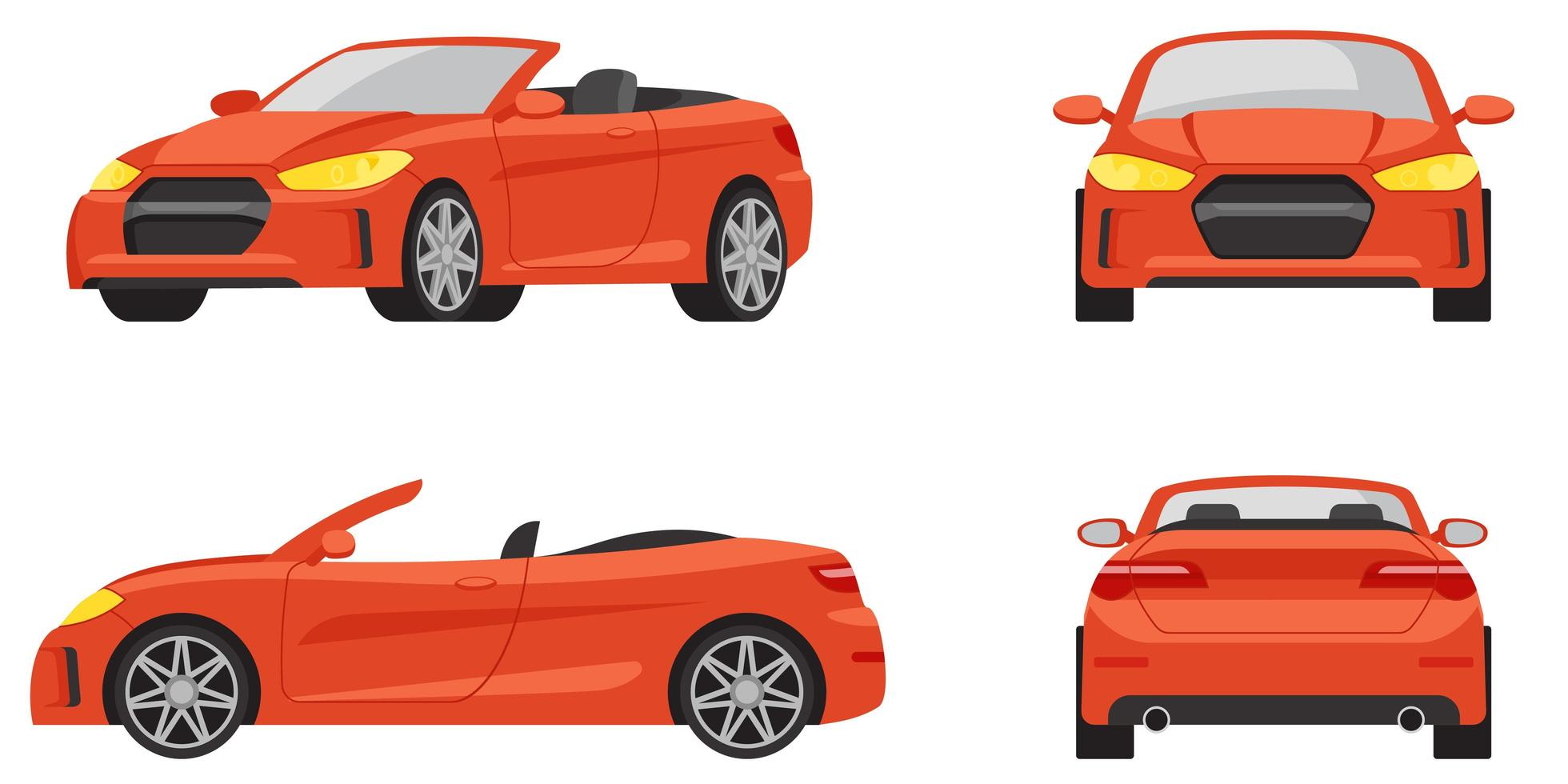 Cabriolet in different angles. vector