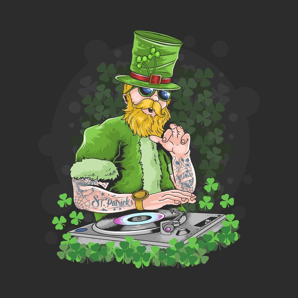 st. patrick's day dj night party tattoo artwork vector