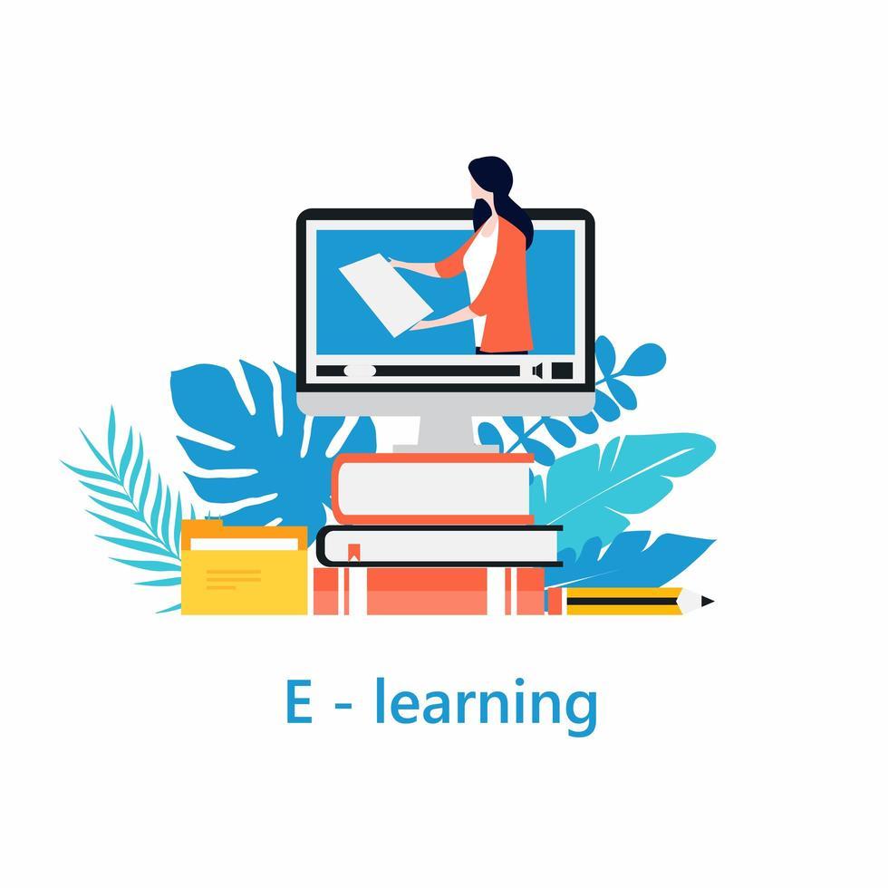 Online classes, virtual classroom concept vector
