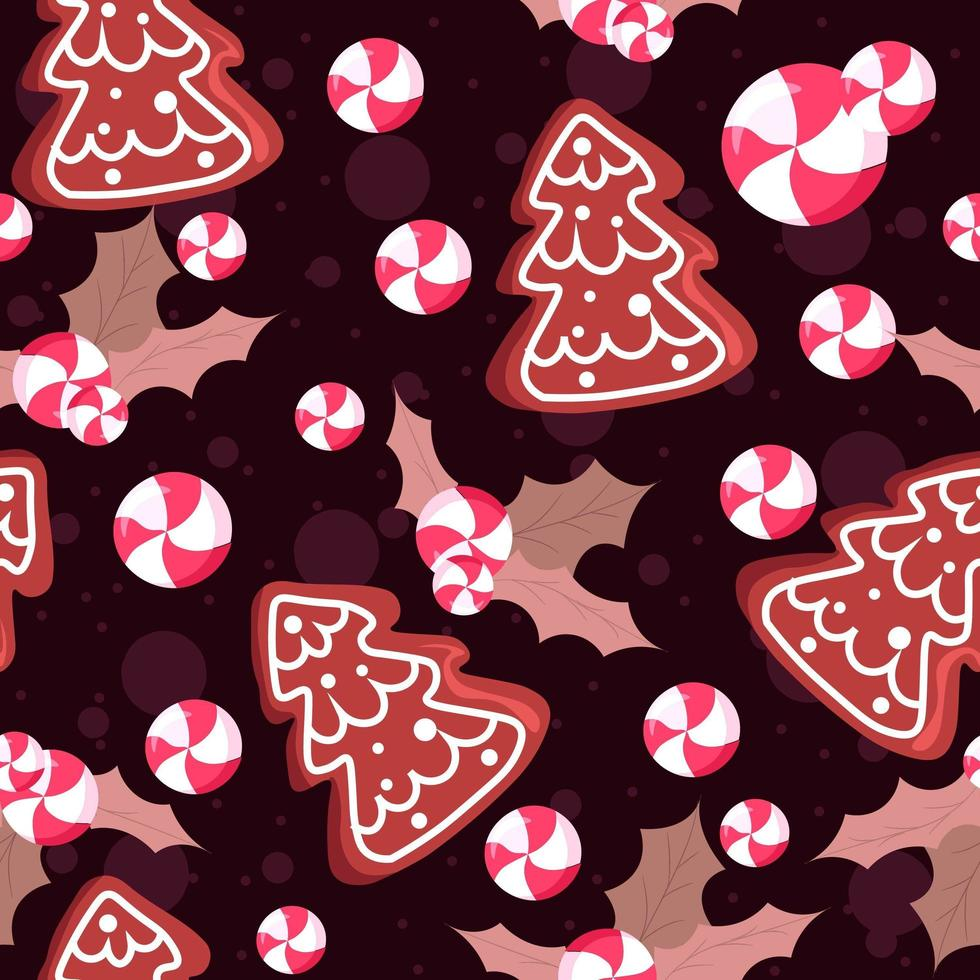 Seamless pattern illustration with mistletoe and leaves, cookies and candies vector