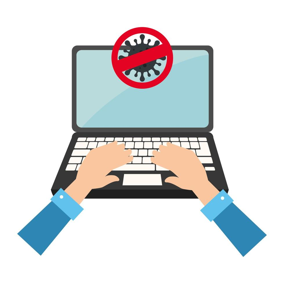 campaign of stop covid 19 in laptop computer vector