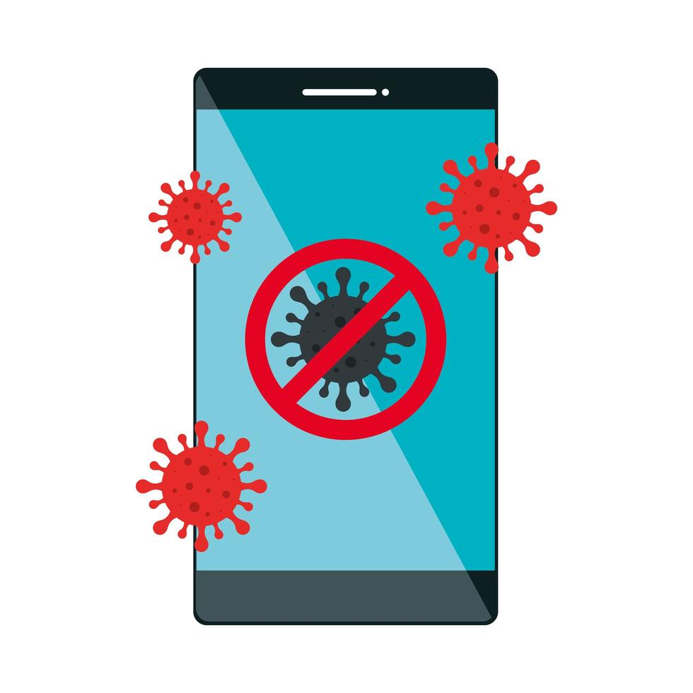 campaign of stop covid 19 in smartphone vector