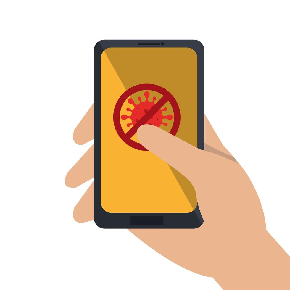 hand using campaign of stop covid 19 in smartphone vector