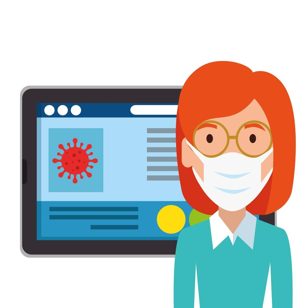 woman using face mask with tablet device vector