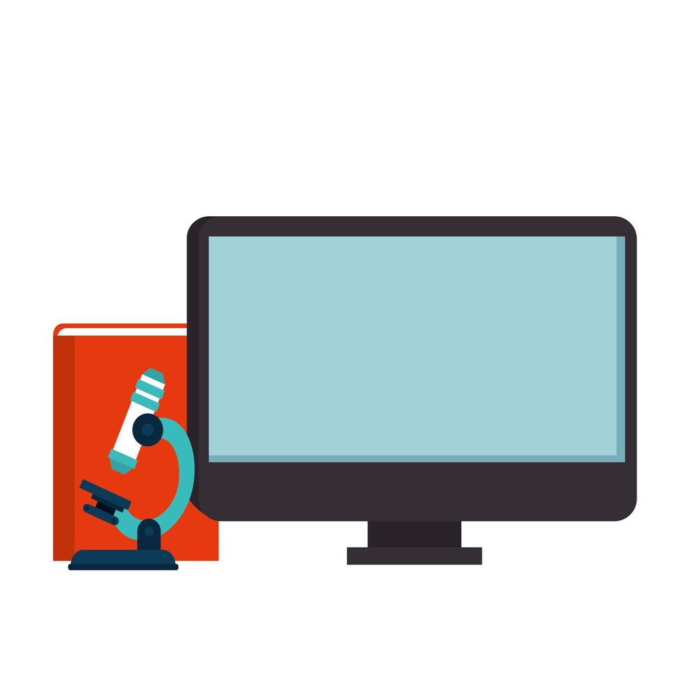 computer with microscope and book isolated icon vector