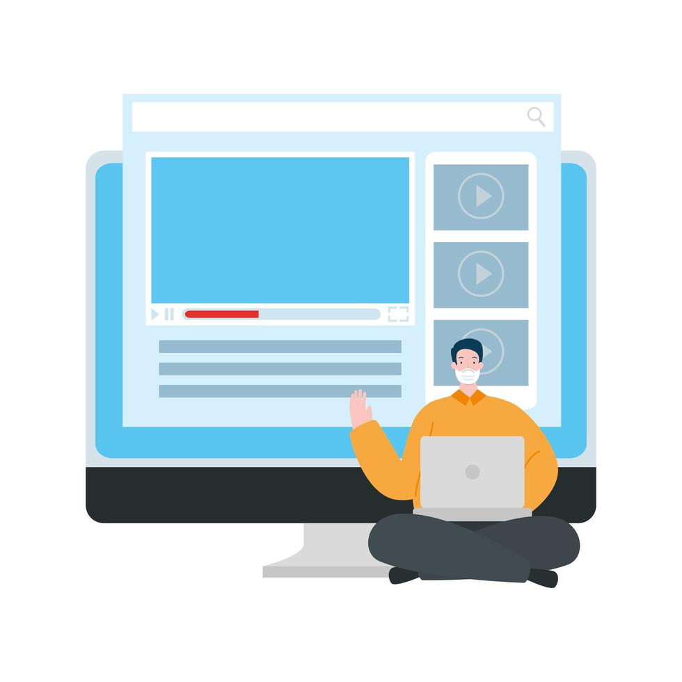 man using face mask with computers vector