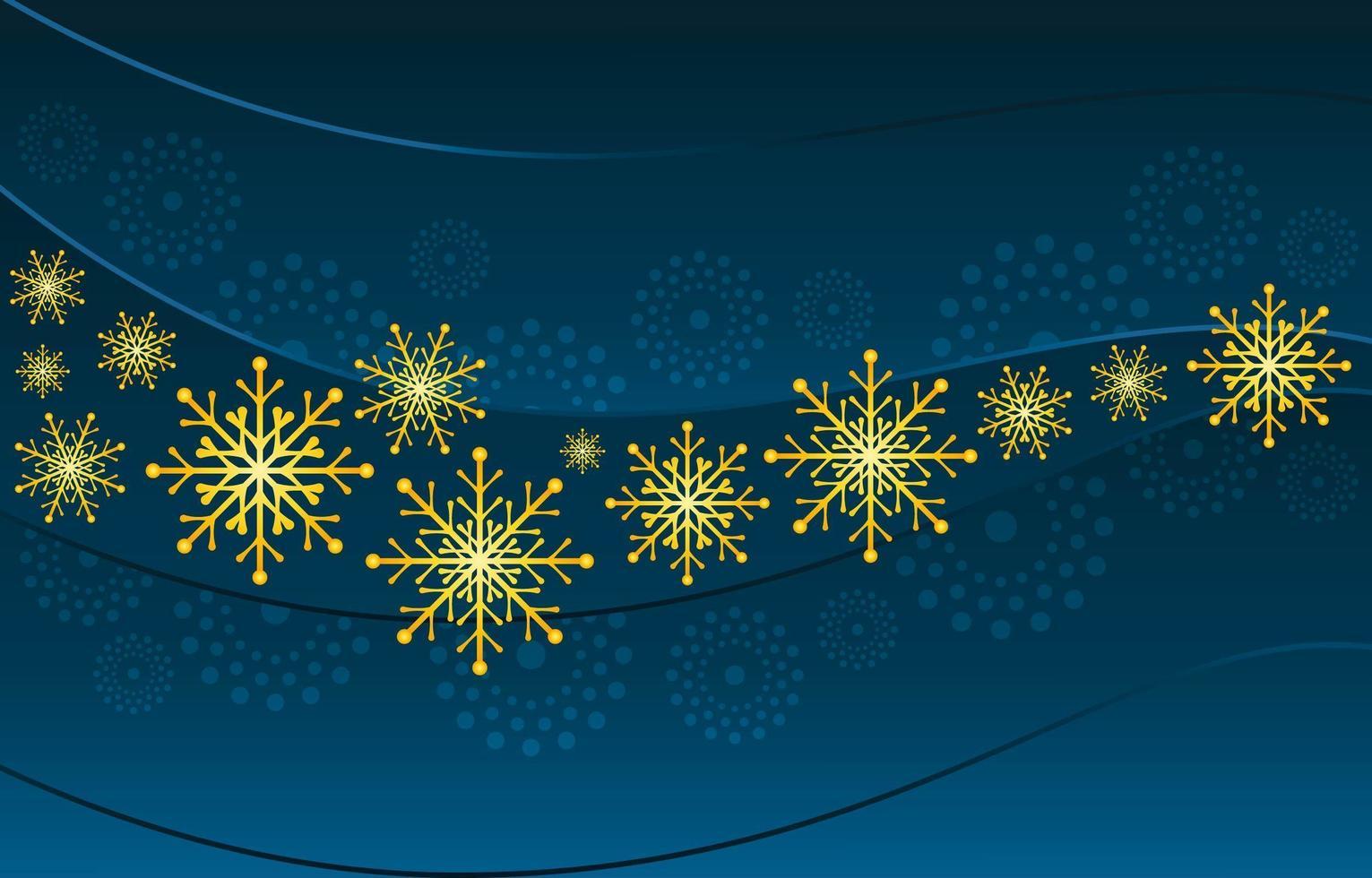 Elegant Gradient Blue Gold Snowflakes Concept vector