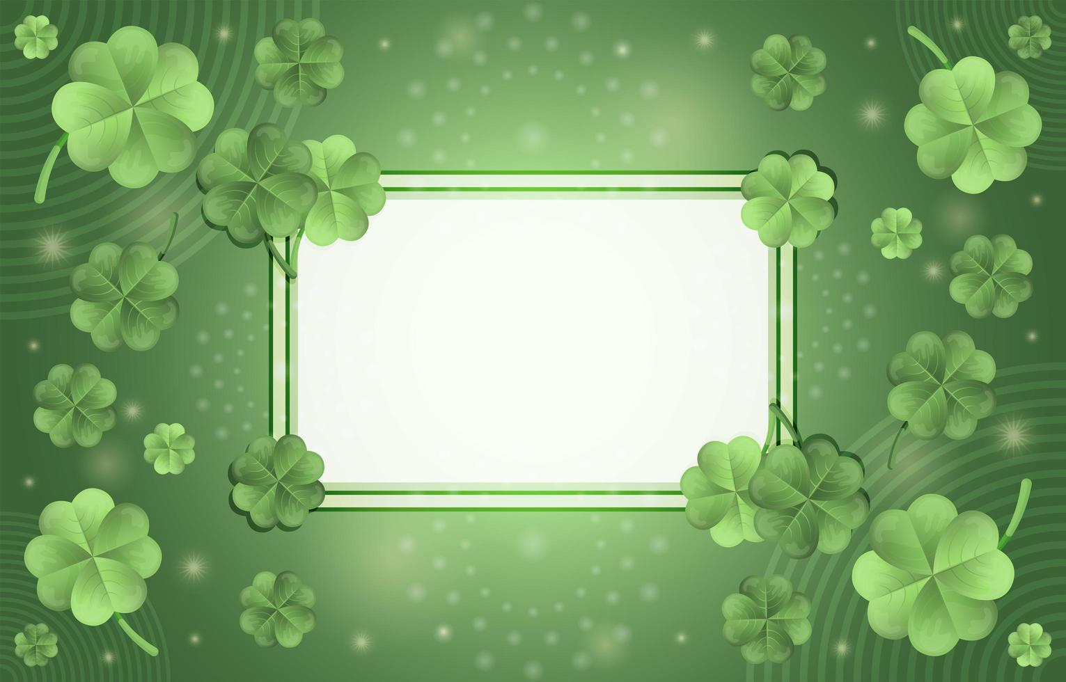 Elegant Gradient Green Clover Concept with Frame vector