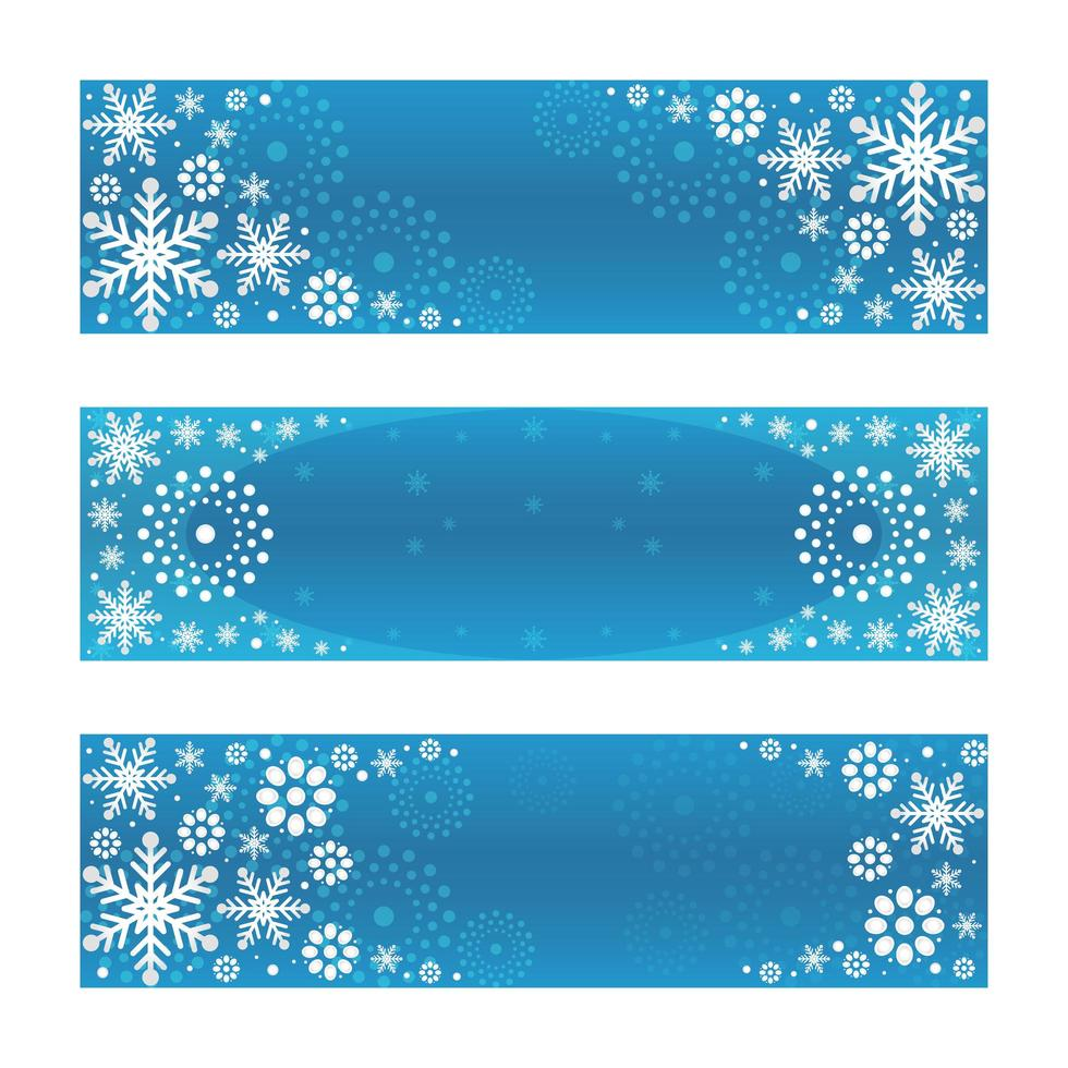 Gradient Silver Snowflakes with Blue Background Banner Set vector