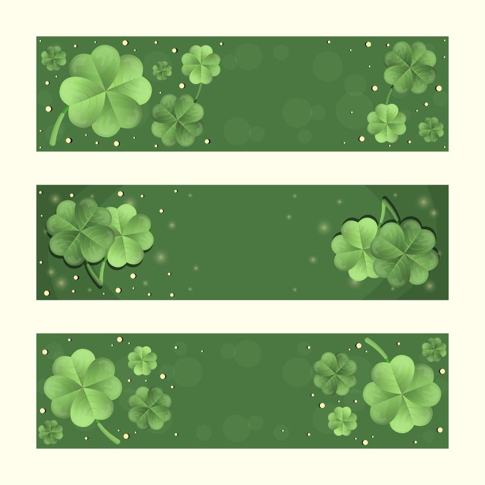 Gradient Green Clover Banner Set vector