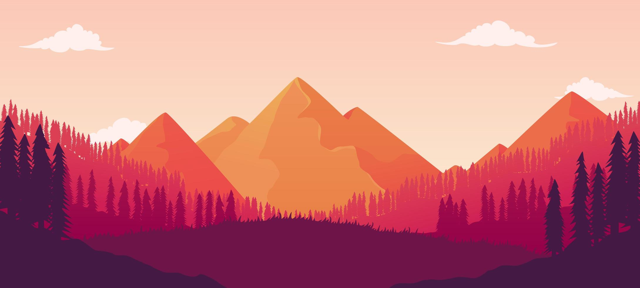 Beautiful Landscape Pine Forest With Mesmerizing Mountain Views vector