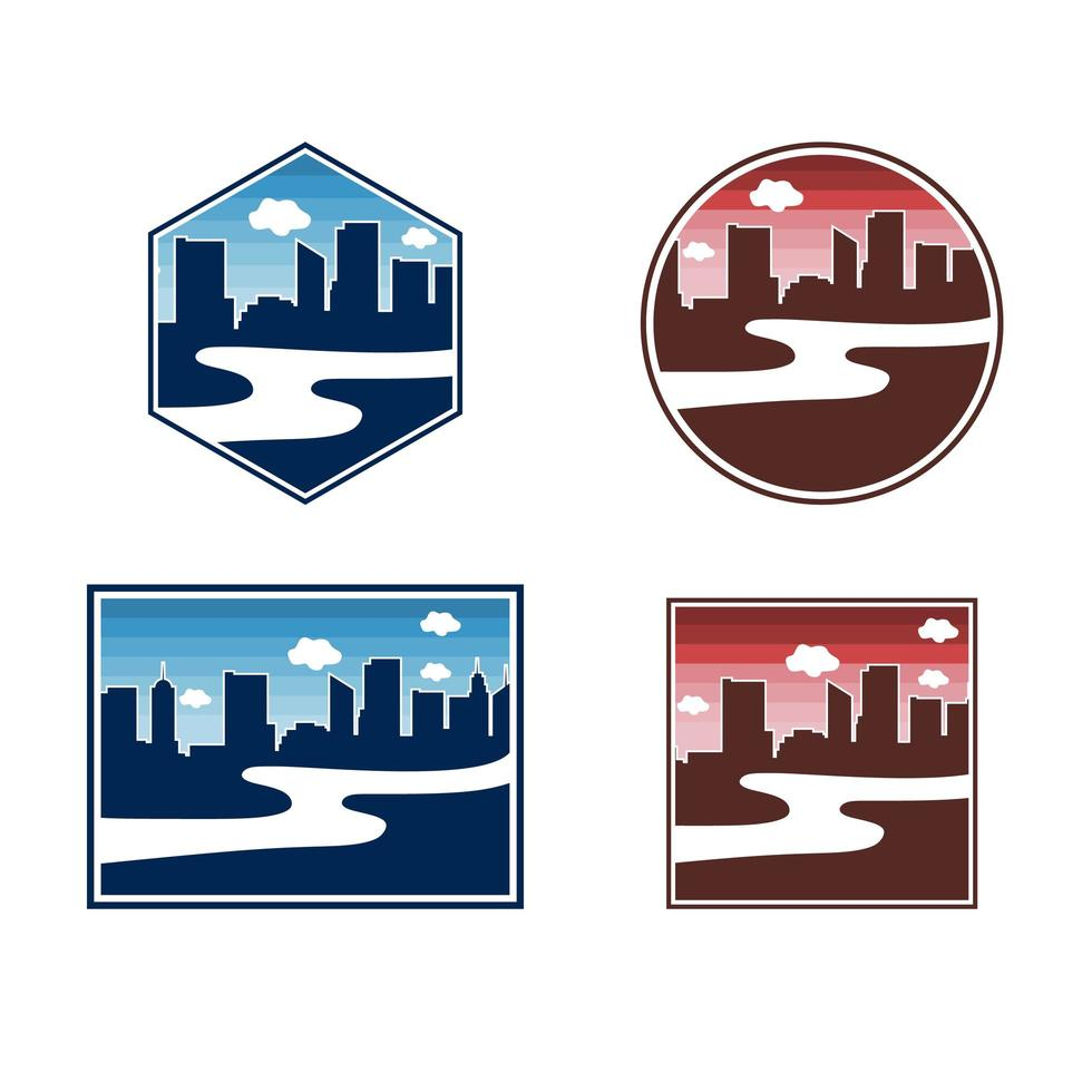 River on town bundle logo template premium vector