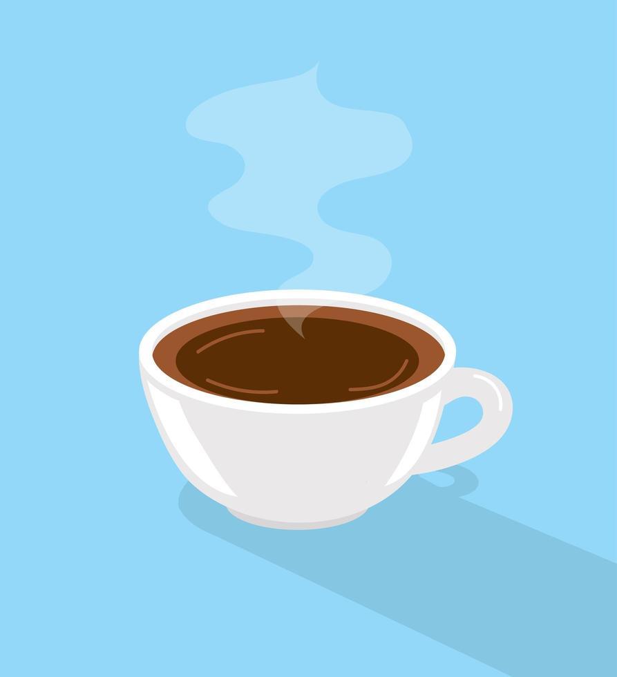 taza de café caliente con una larga sombra vector