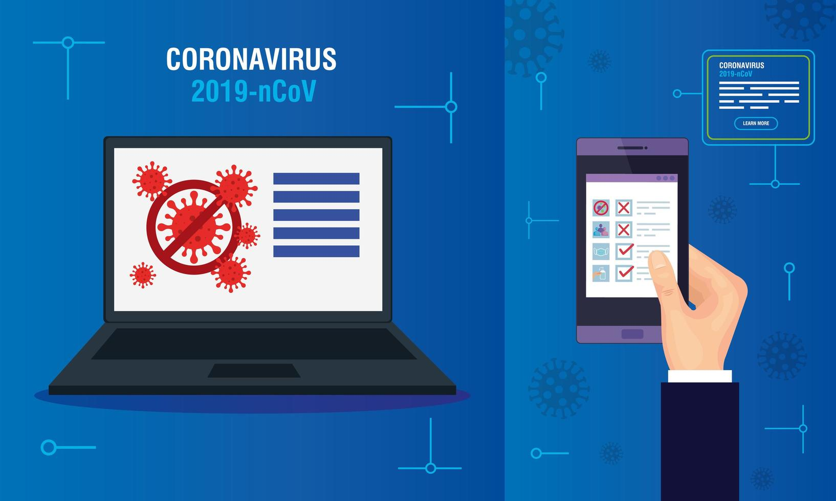campaign of stop covid 19 in devices electronics vector