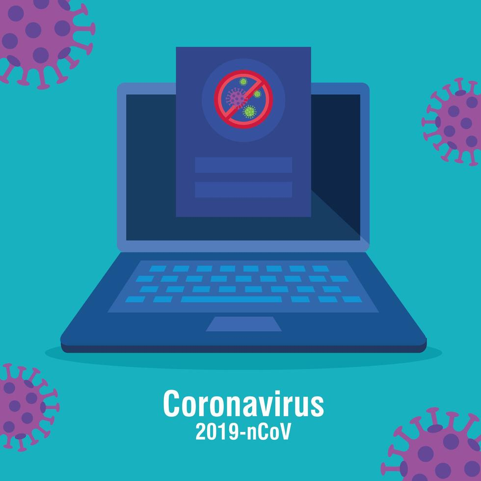 campaign of stop 2019 ncov in laptop computer vector