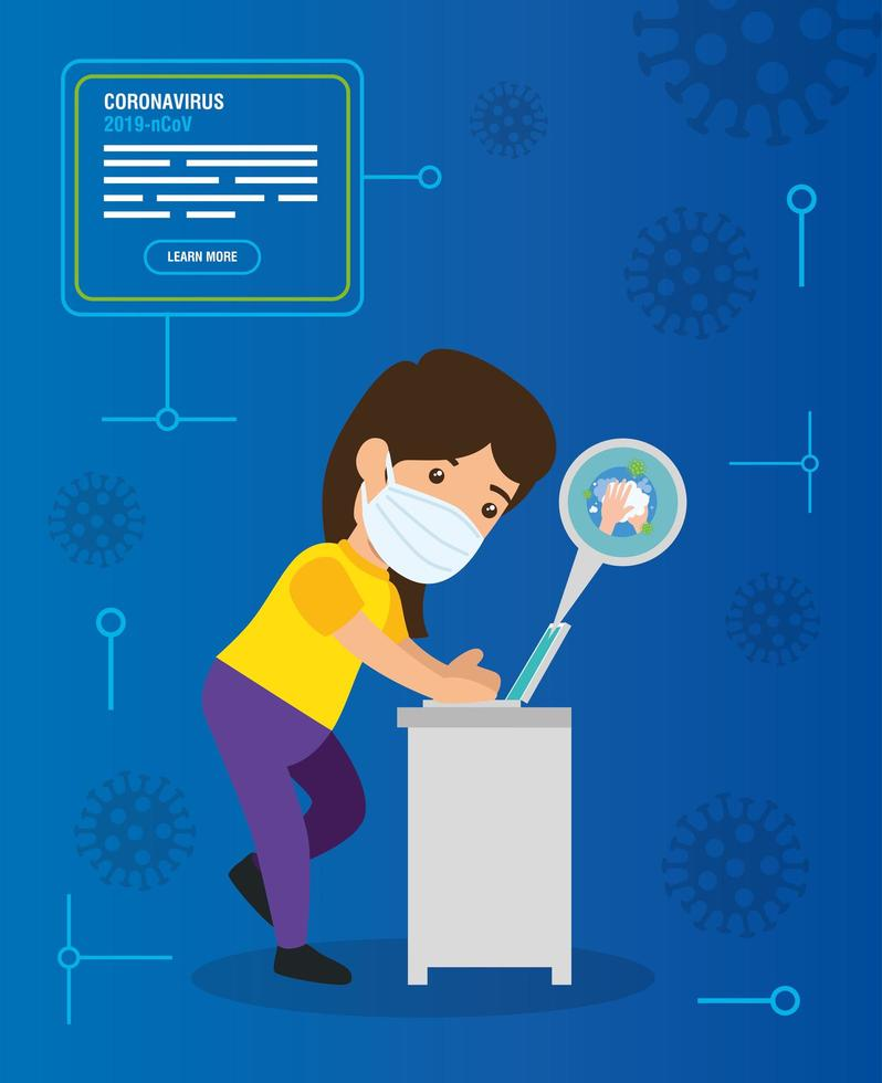 woman searching 2019 ncov information online in laptop computer vector