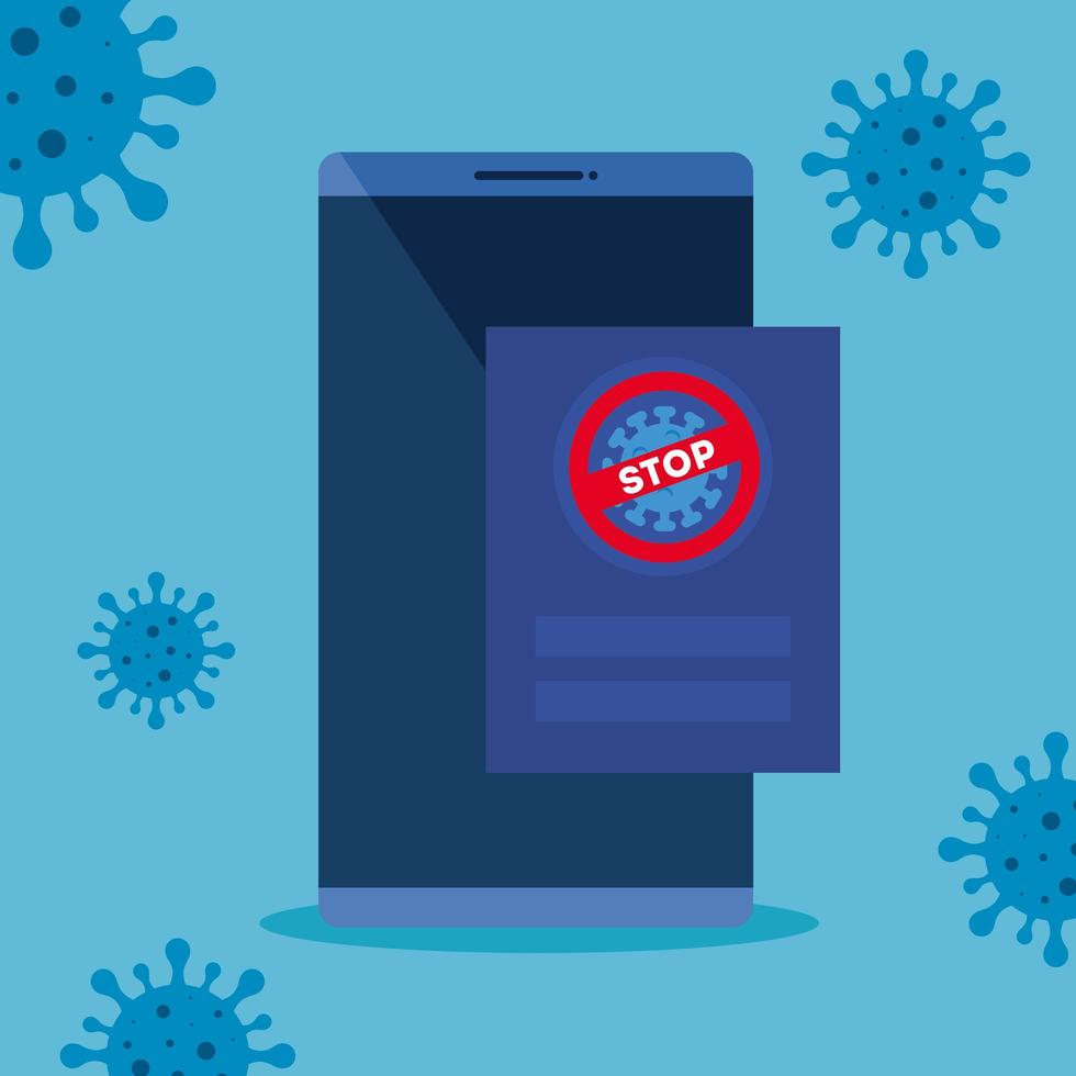 campaign of stop 2019 ncov in smartphone vector