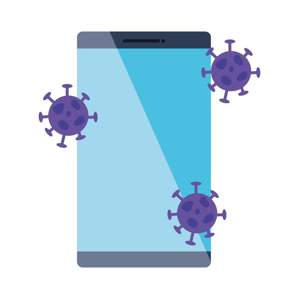 smartphone with particles covid 19 isolated icon vector