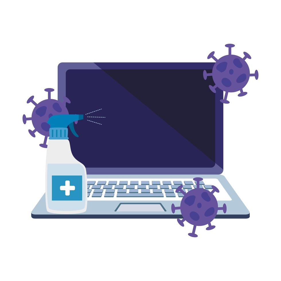 laptop with particles covid 19 and bottle sanitizer vector