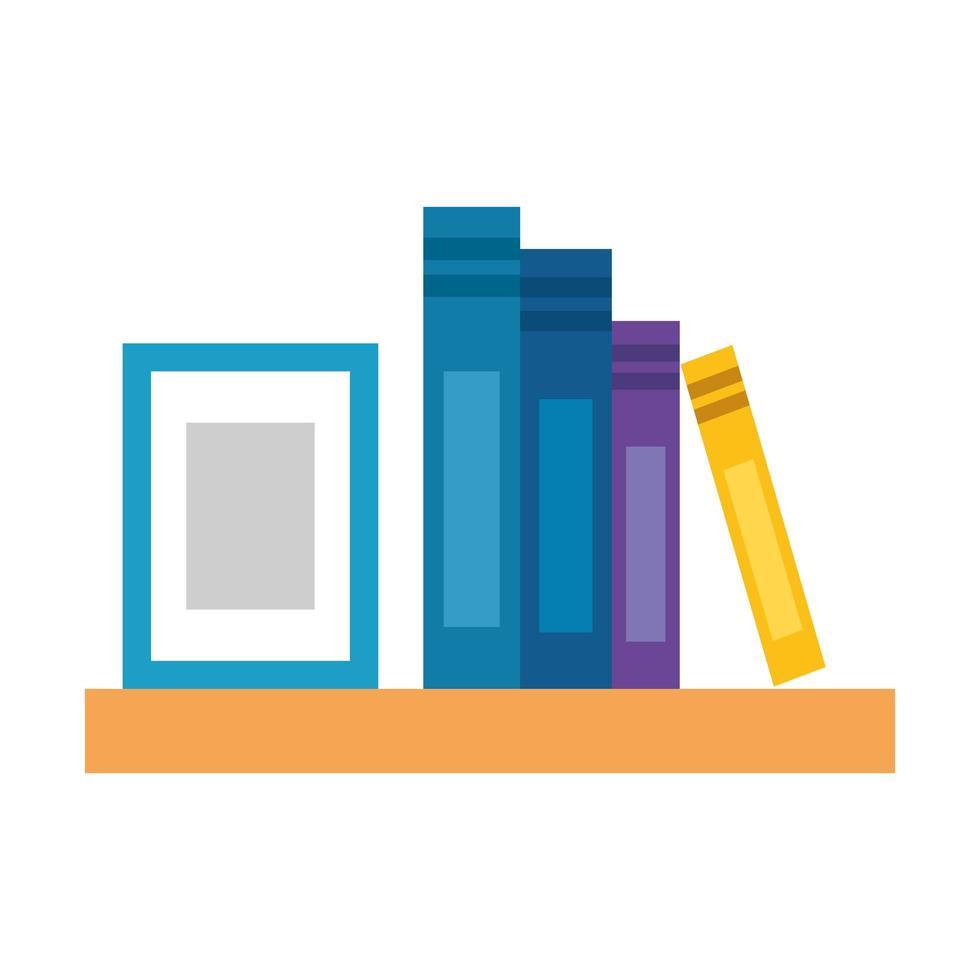 estantes para libros muebles de madera, literatura, objeto de interior vector