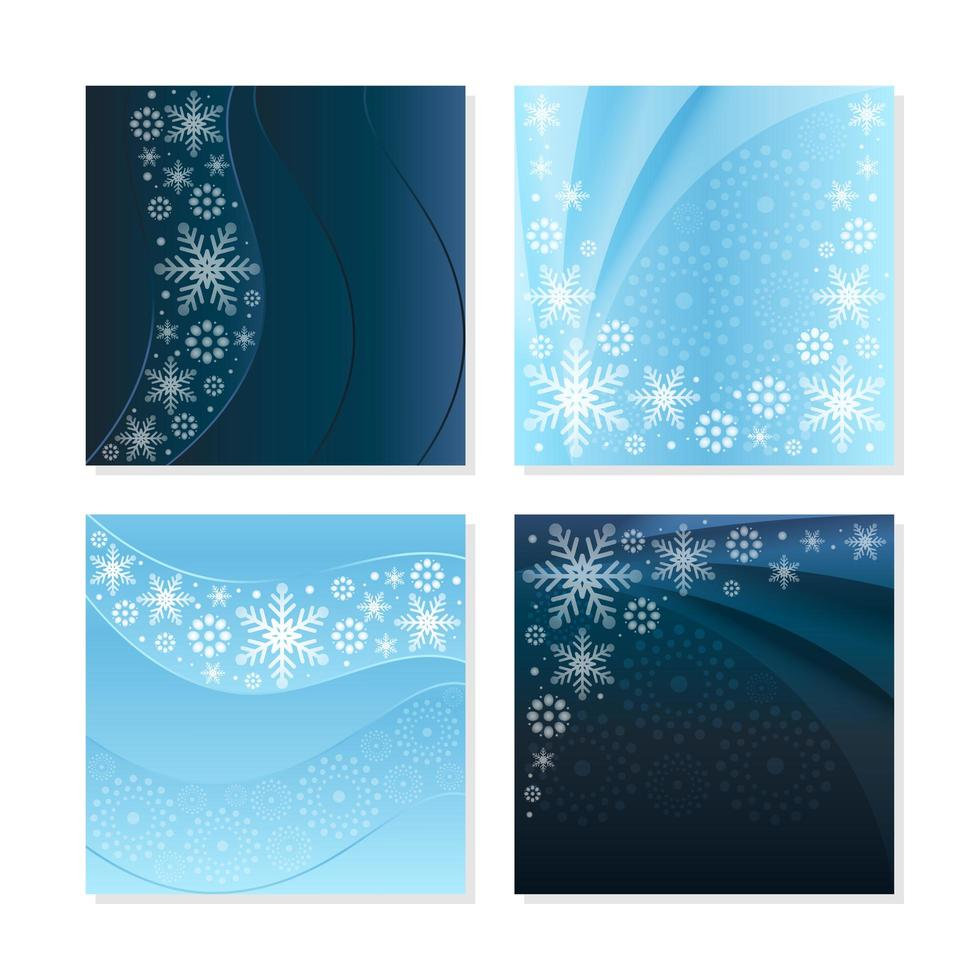 Elegant Snowflakes Card Concepts with Light and Dark Blue Background vector