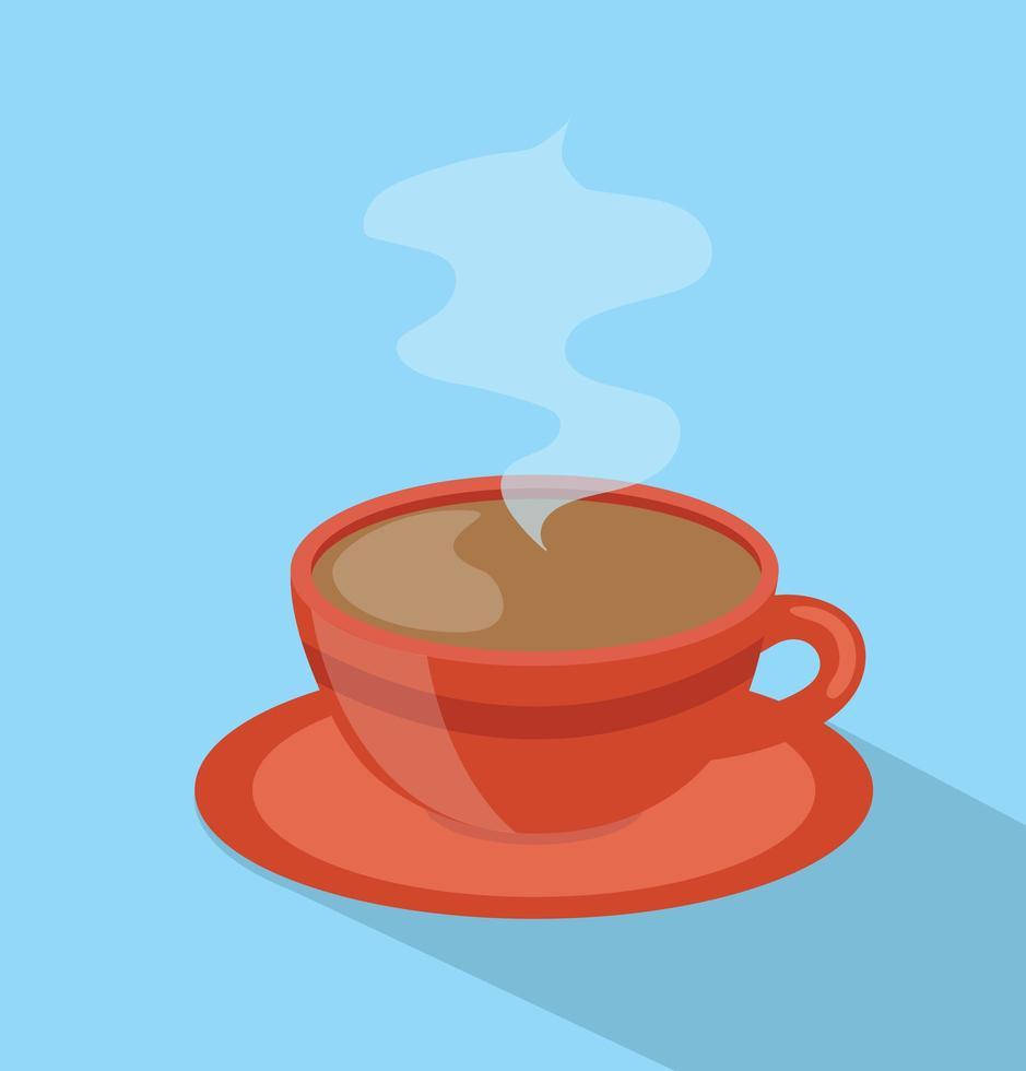 taza roja de café estilo barista larga sombra vector