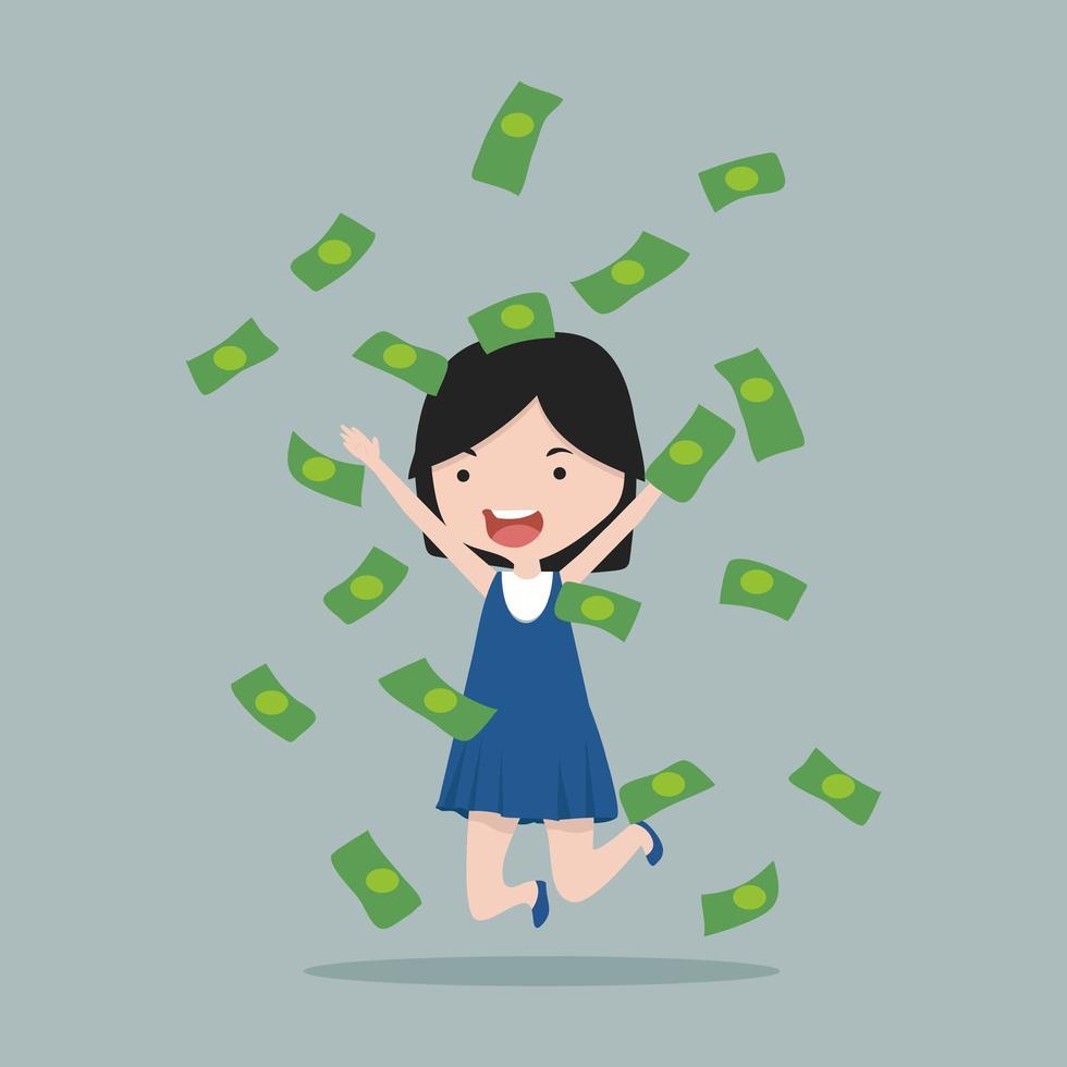 chica con billetes de dinero vector