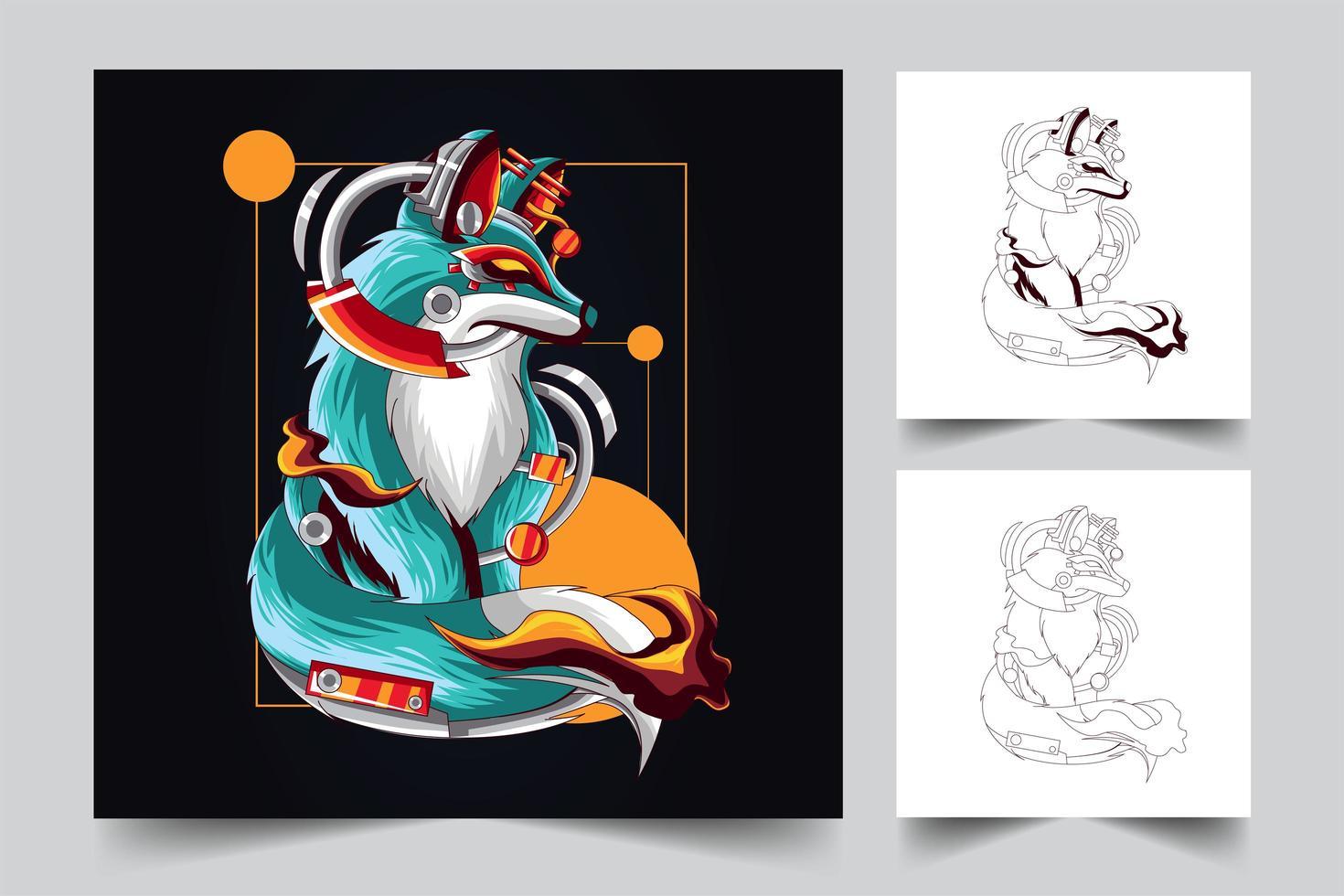 fox artwork illustration vector