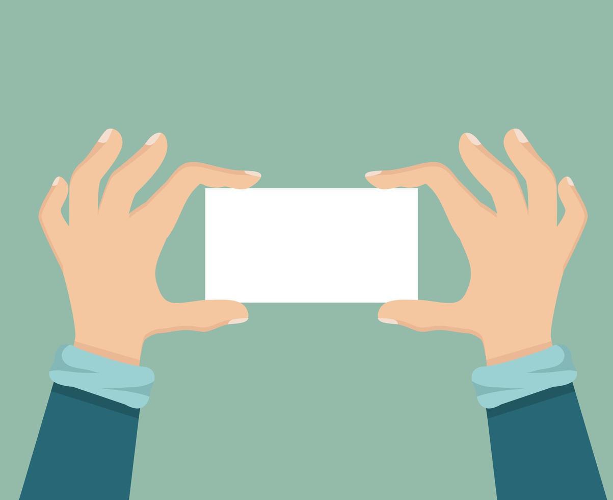 manos humanas sosteniendo un cartel de tarjeta vector
