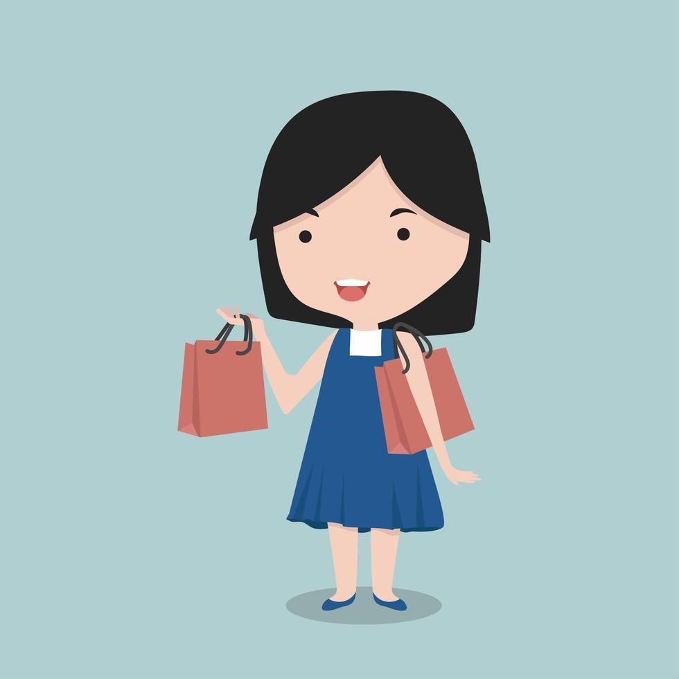 Little girl holding shopping bags vector