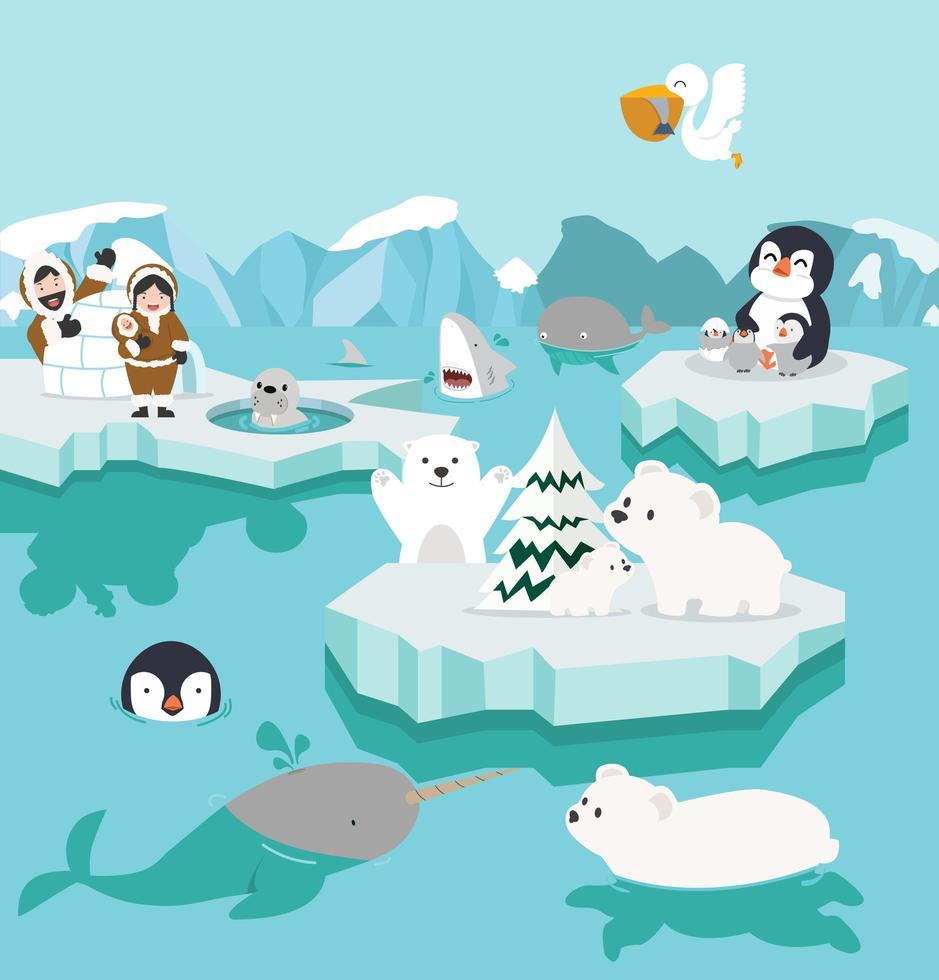 conjunto de dibujos animados lindo paisaje del polo norte vector