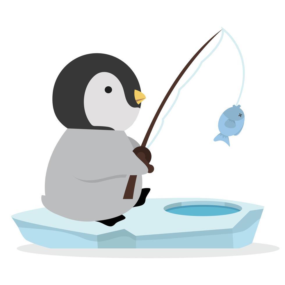 lindo pingüino pescando en vector de témpano de hielo