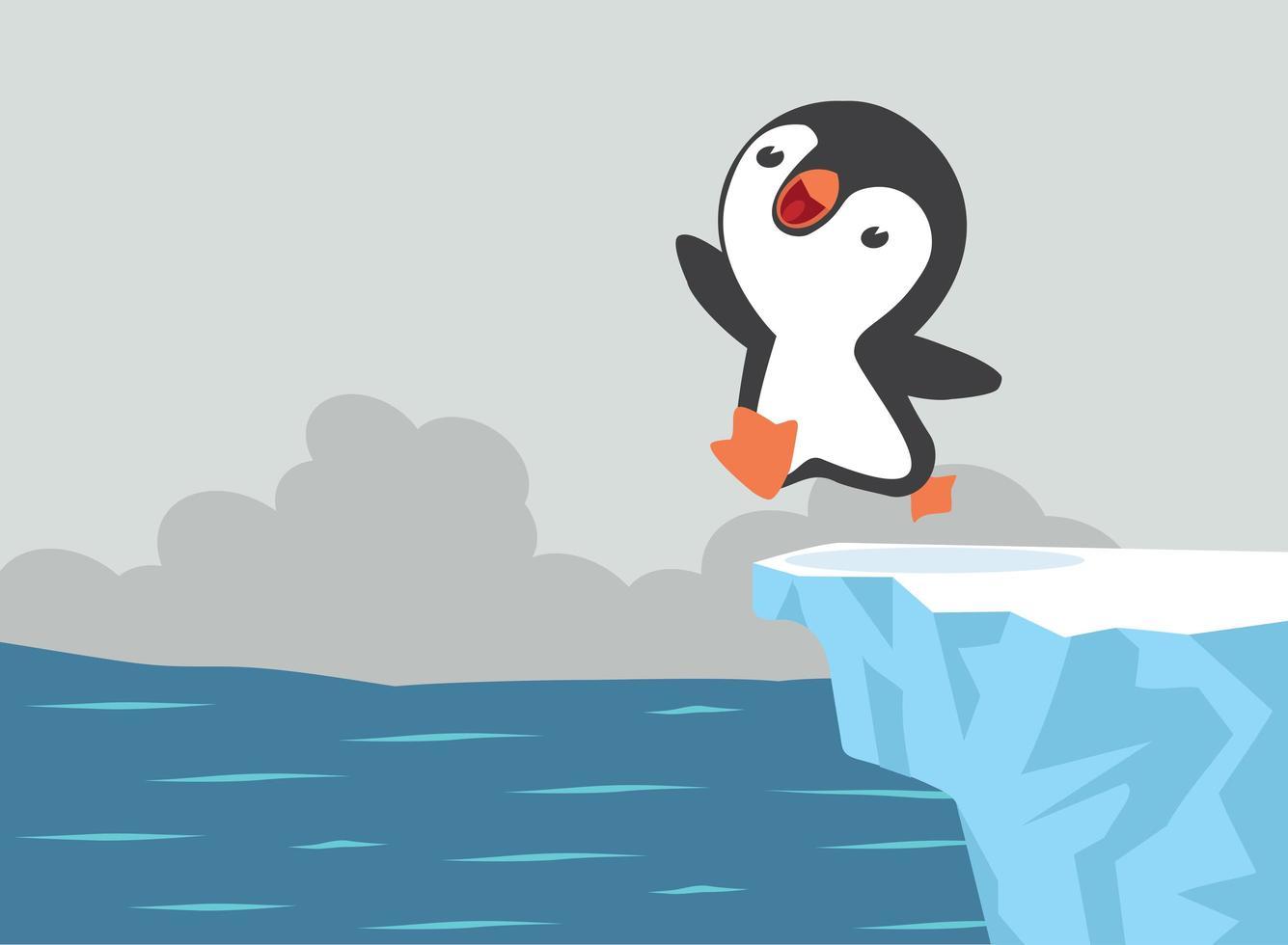 lindo pingüino saltando en el agua vector