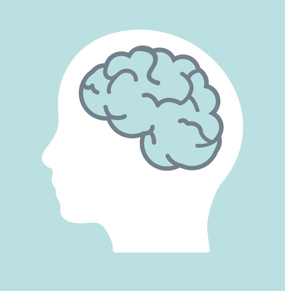 cerebro en la cabeza humana pensar en el diseño vector